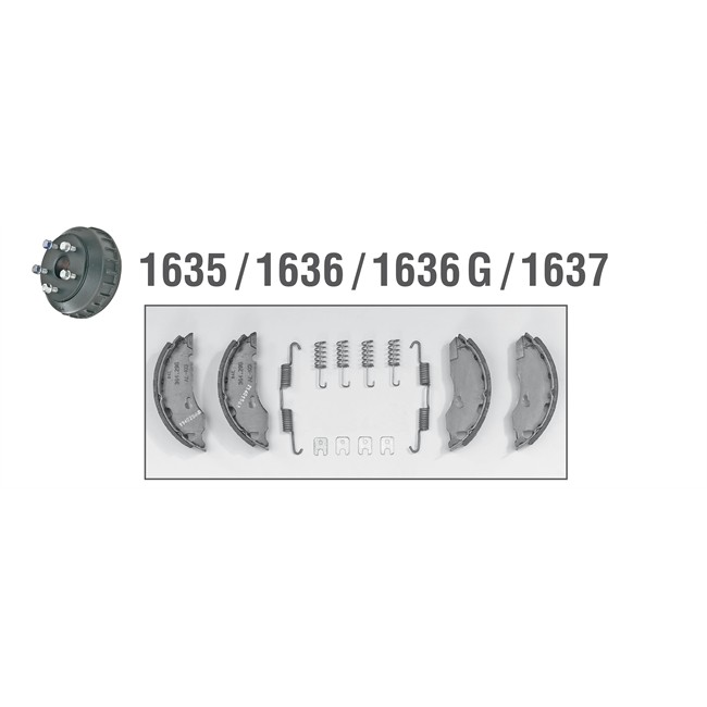 M/âchoires de frein mis AL-KO 1635 1636 1637 ALKO Set47 160x35