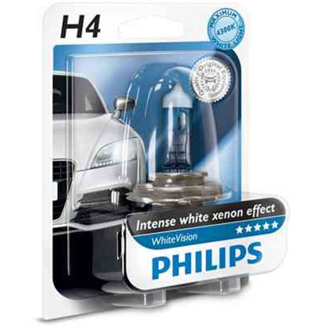 1 ampoule philips h4 whitevision 12 v. Black Bedroom Furniture Sets. Home Design Ideas