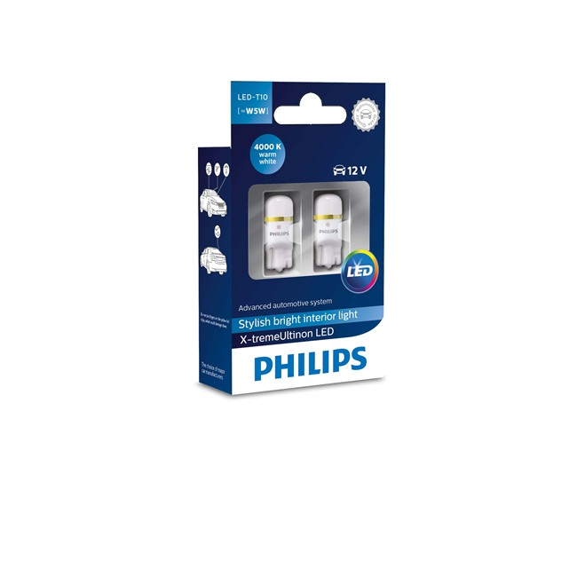 2 Ampoules Philips T10 X-tremevision Led 4000k