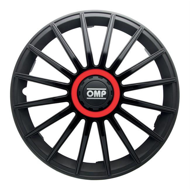 4 Enjoliveurs Noir/rouge Omp Formula 13 Pouces