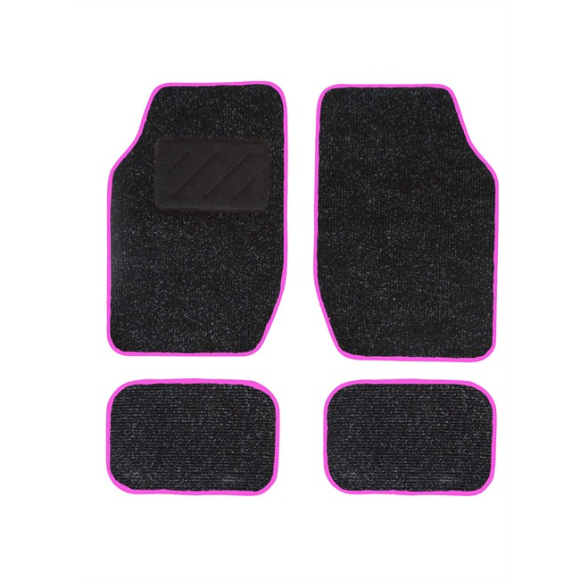 4 tapis de voiture universels moquette spot noir ganse rose. Black Bedroom Furniture Sets. Home Design Ideas