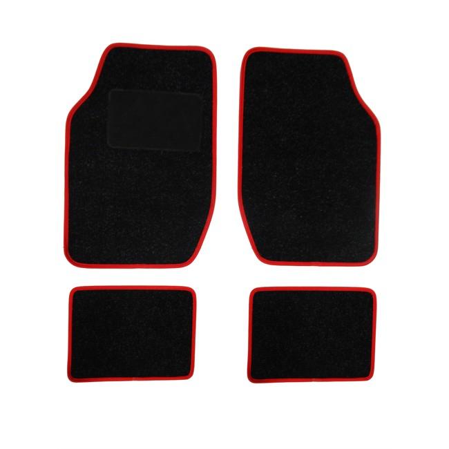 4 tapis de voiture universels moquette spot noir ganse rouge. Black Bedroom Furniture Sets. Home Design Ideas