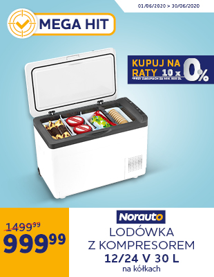 Lodówka z kompresorem i funkcją zamrażania do -22 °C 12 V/ 24 V Norauto 30 L